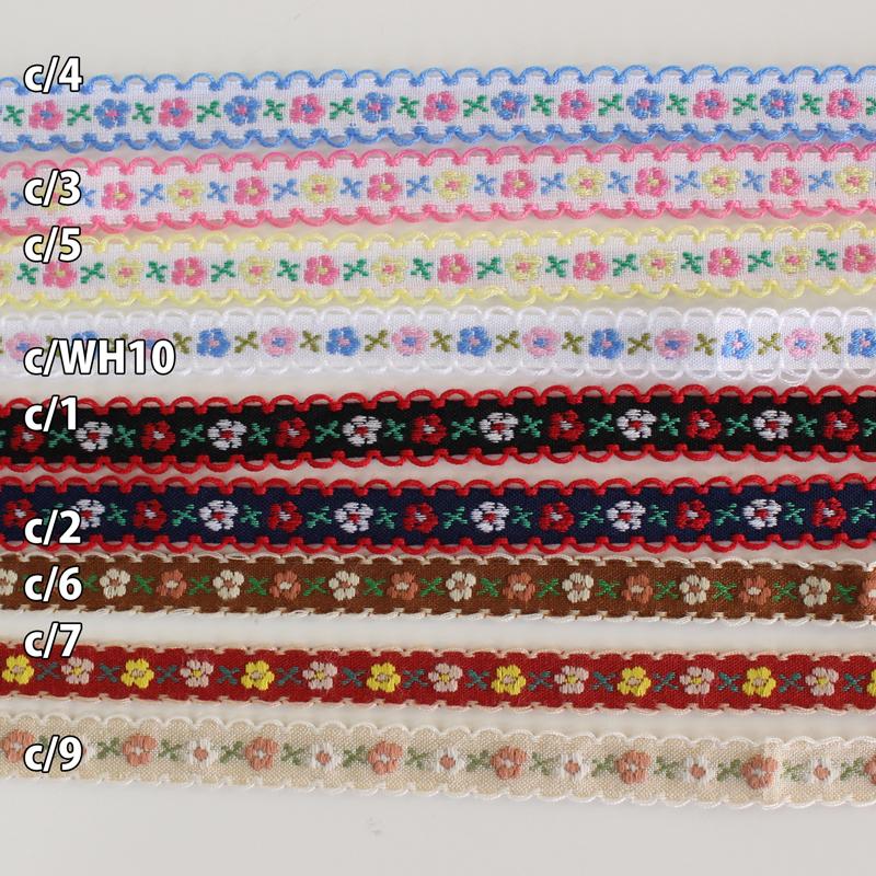 【9色/12mm幅】No,17 ピコ付小花柄チロリアンテープ ジャガードリボン 日本製