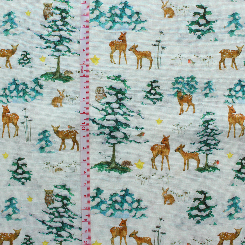 【140cm×50cm】acufactum 鹿とウサギと小鳥とふくろう冬の森 生地