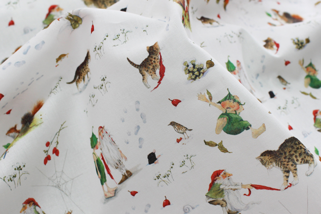 【140cm×50cm】acufactumギーズベルトの冬の庭 生地
