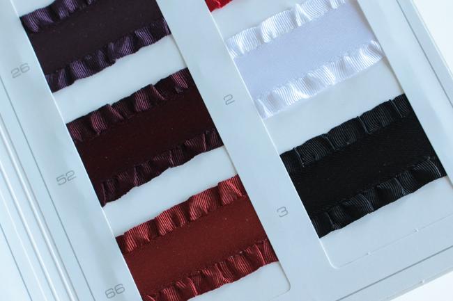 【4幅/24色】MOKUBA 4895 フリルサテンリボン4サイズ展開/5m巻き