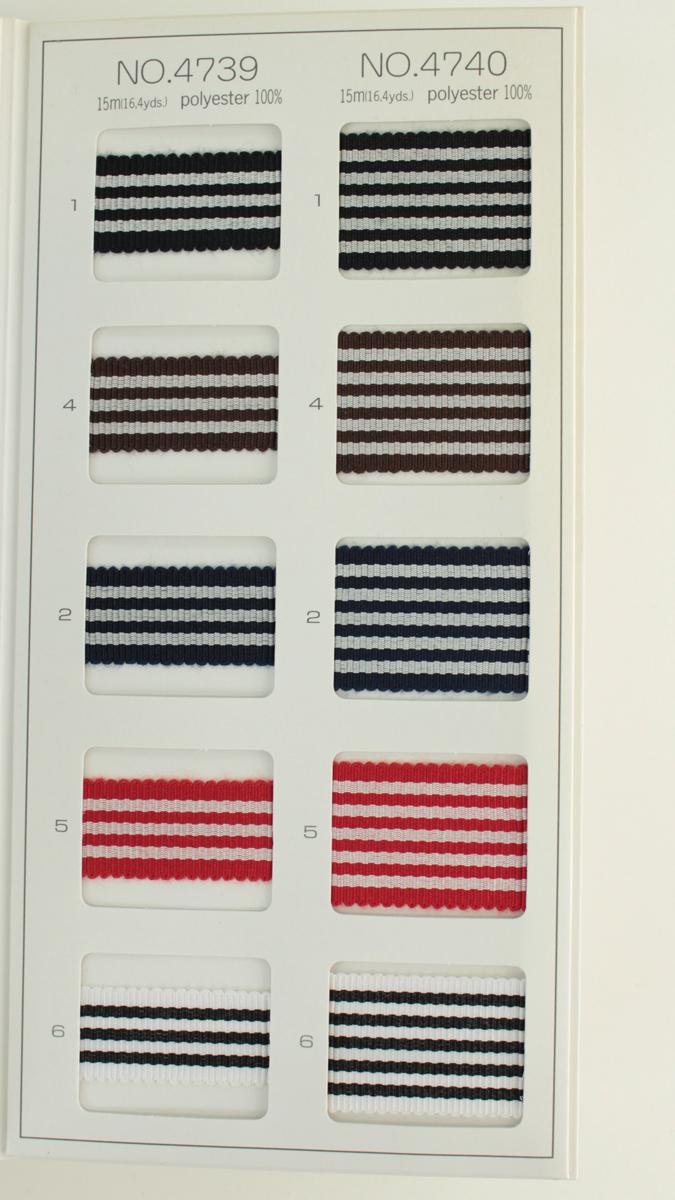 【約24mm幅/5色】MOKUBA  4740-24mm幅ストライプグログランリボン/15m巻