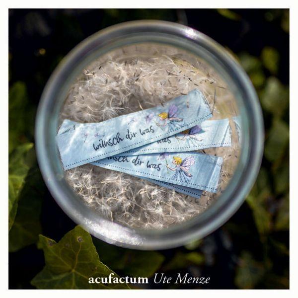 【acufactum286】 約2cm×約7cm幅 たんぽぽの妖精 タグ ラベル 織ネーム