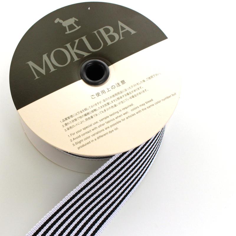 【約36mm幅/5色】MOKUBA  4741-36mm幅ストライプグログランリボン/15m巻
