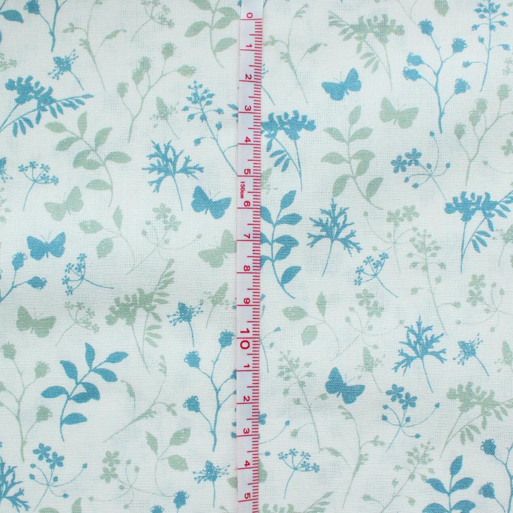 【140cm×50cm】acufactum 蝶々と葉と草のコントラスト 生地
