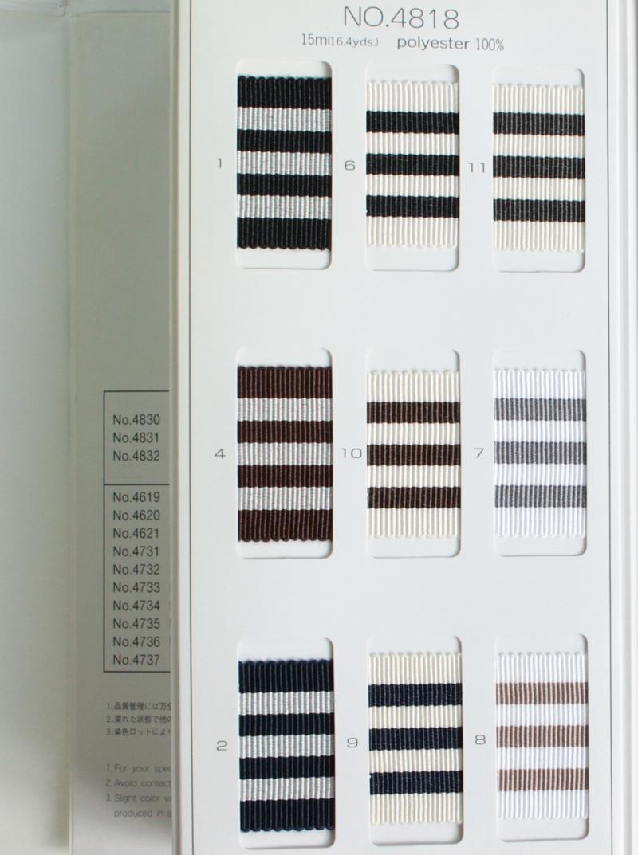 【約36mm幅/9色】MOKUBA  4818-36mm幅ストライプグログランリボン/15m巻