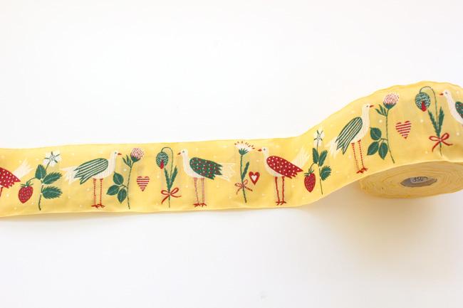 【50cm単位】acufactumアクファクタム 約幅50mm-足長とり(鳥、ハート、イチゴ、お花)柄チロリアンテープ