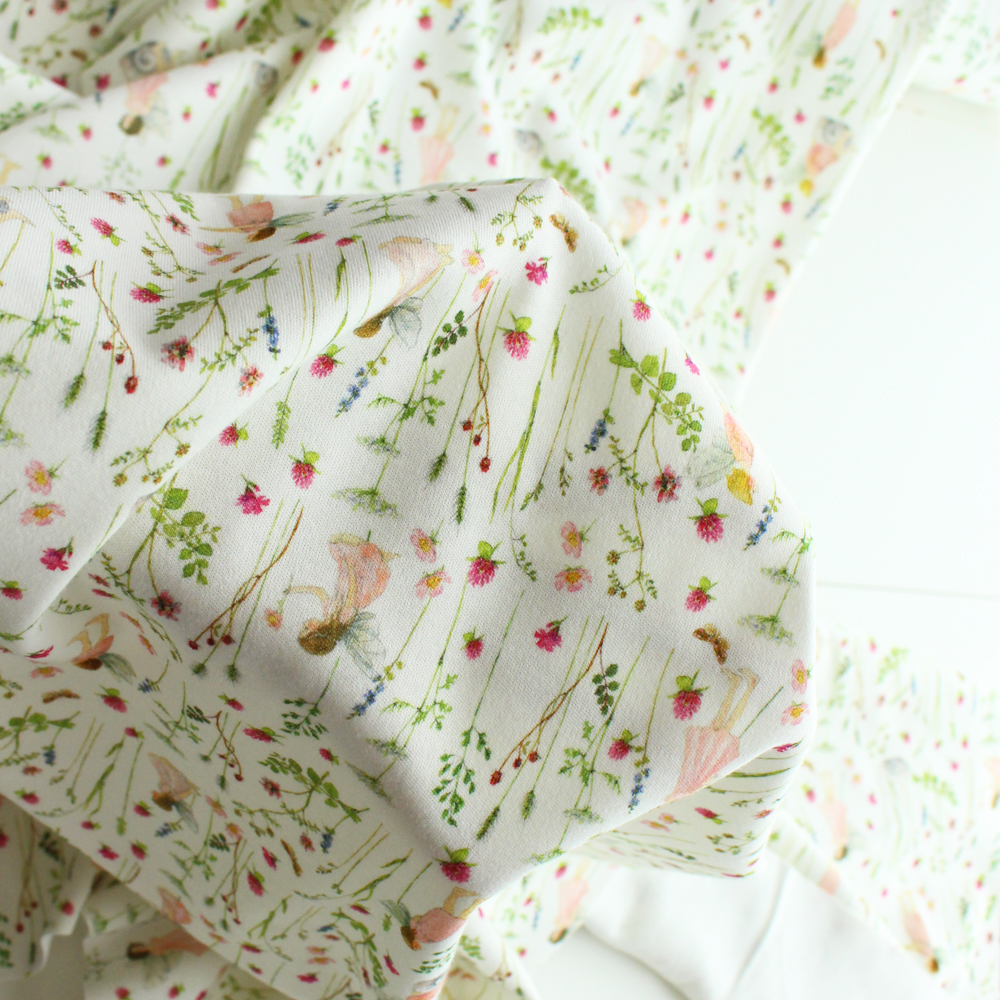 ★ジャージー素材★【140cm×50cm】acufactum 妖精の庭 ピンク 生地