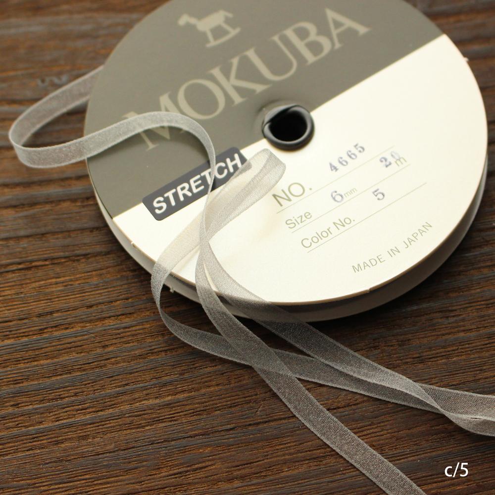 【5幅/24色】MOKUBA 4665ストレッチオーガンジーリボン/20m巻き