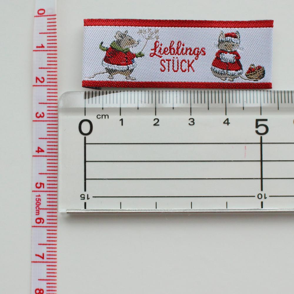 【acufactum274】 約2cm×約5.4cm-赤ラベル ネズミの冬 編み物 タグ ラベル 織ネーム