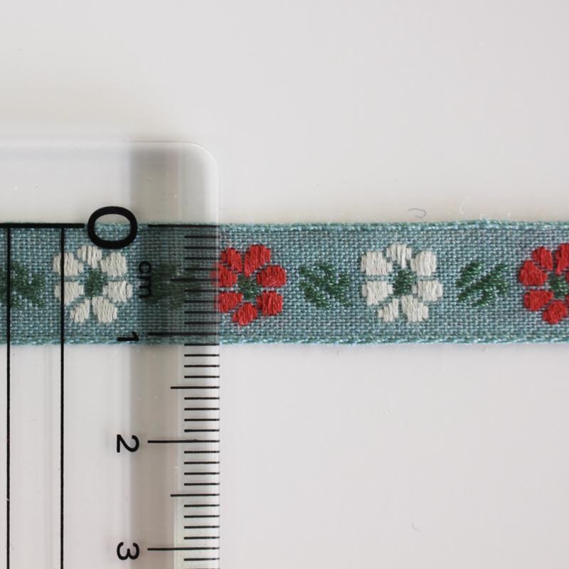 【12色/12mm幅】No,546レトロな2色フラワー柄チロリアンテープ ジャガードリボン