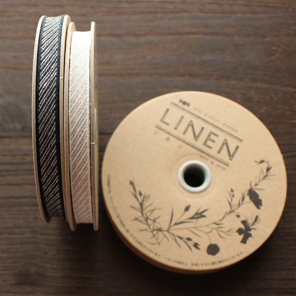No,1197-10mm リネン100% ダイアゴナルリボン 斜め模様