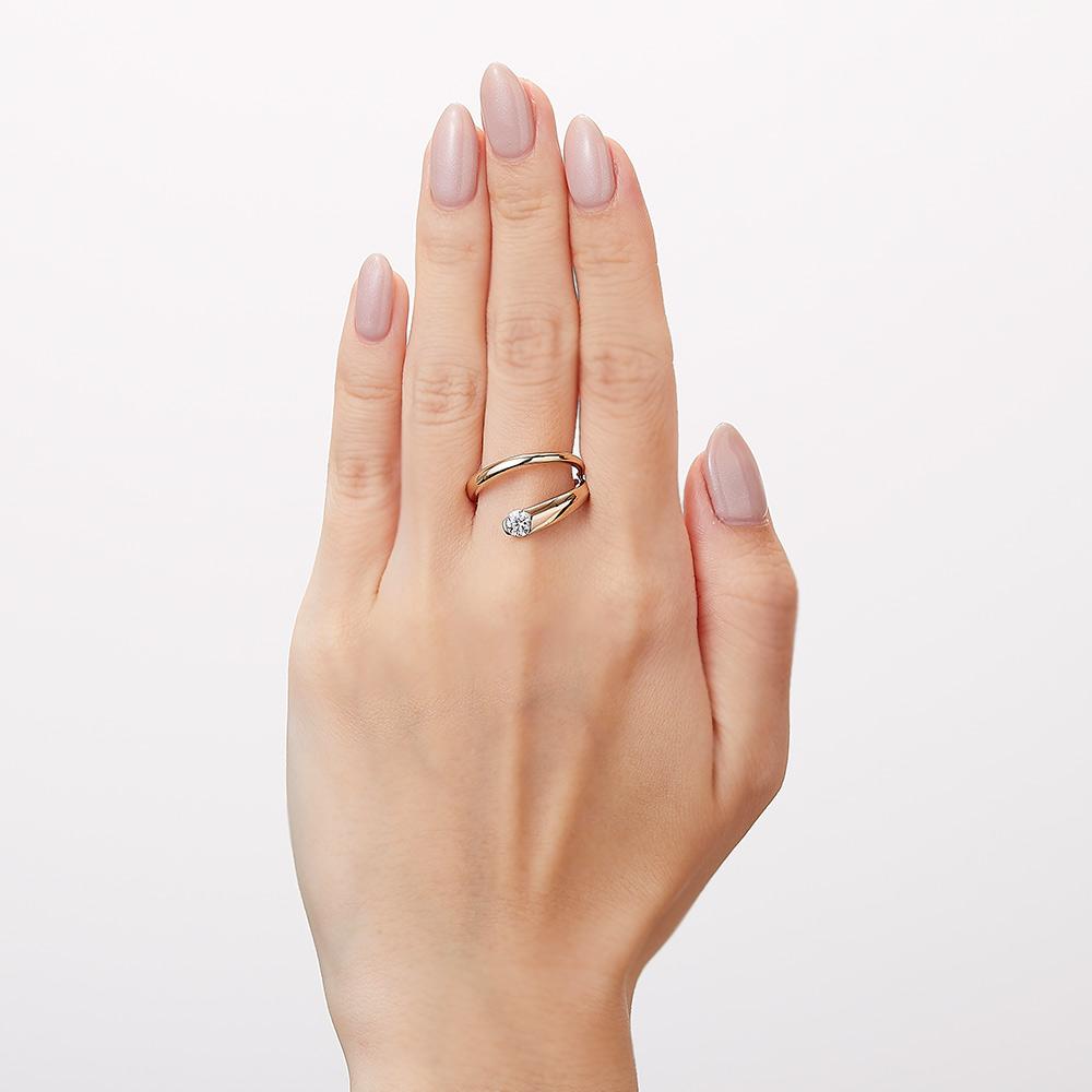 トラジェクトリー ラボグロウン ダイヤモンド 中石 0.3ct リング K18WG