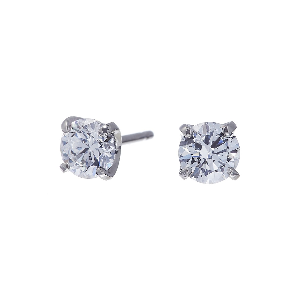 ブライト ラボグロウン ダイヤモンド 中石 0.5ct 4本爪 ピアス プラチナ