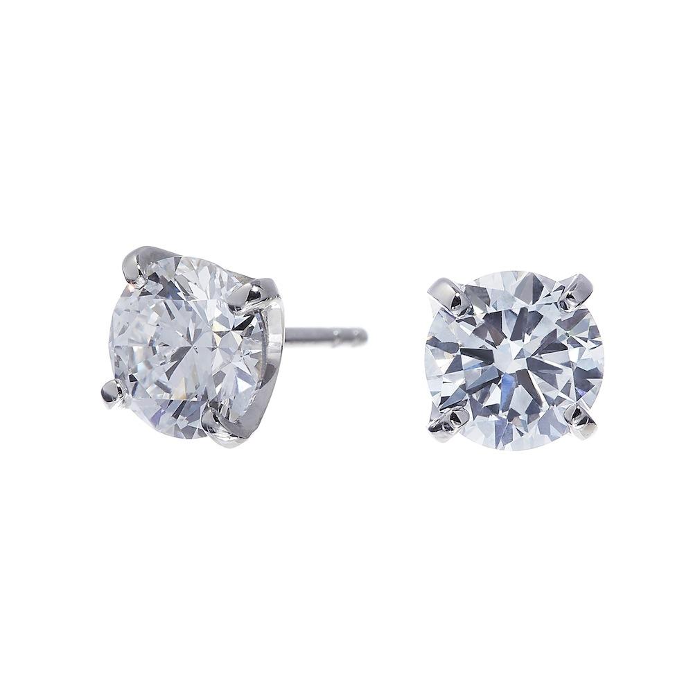 UN 一粒 ラボグロウン ダイヤモンド 中石 1.0ct 4本爪 ピアス プラチナ