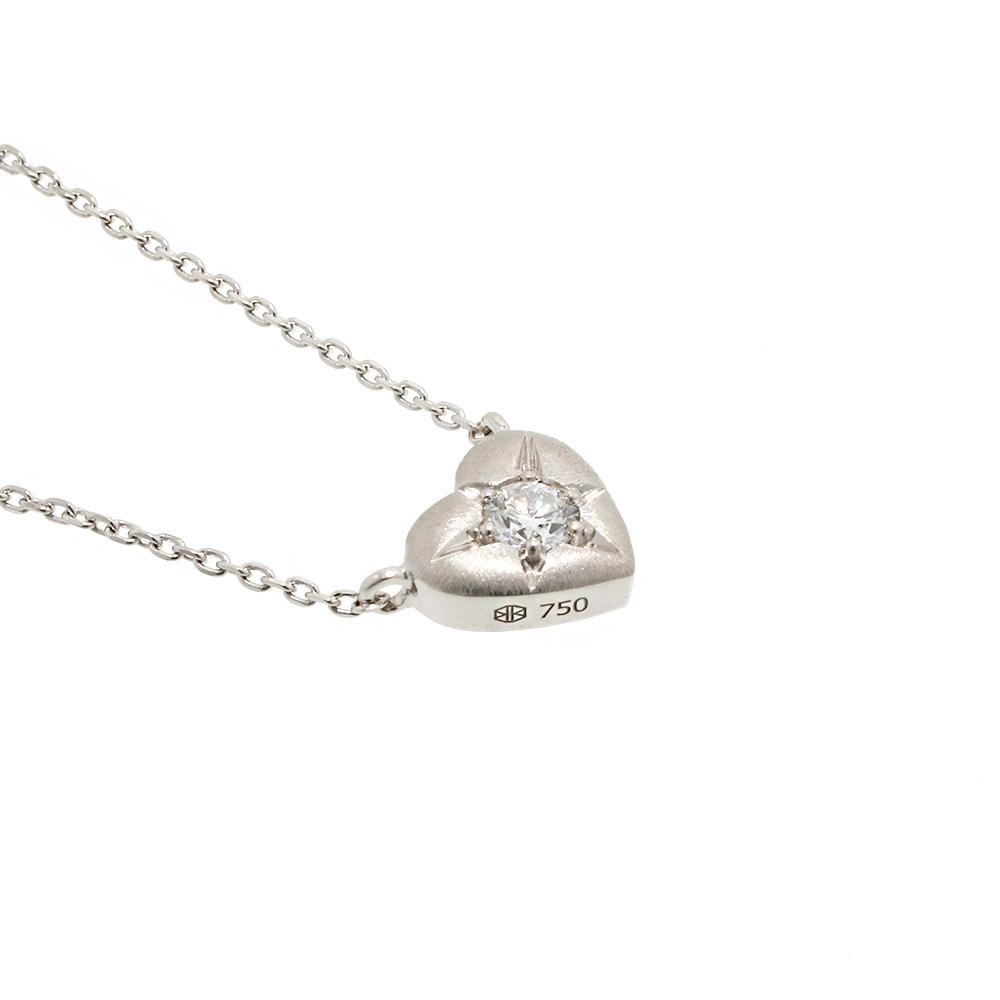 ブライト ラボグロウン ダイヤモンド 中石 0.1ct ハート ペンダント K18WG