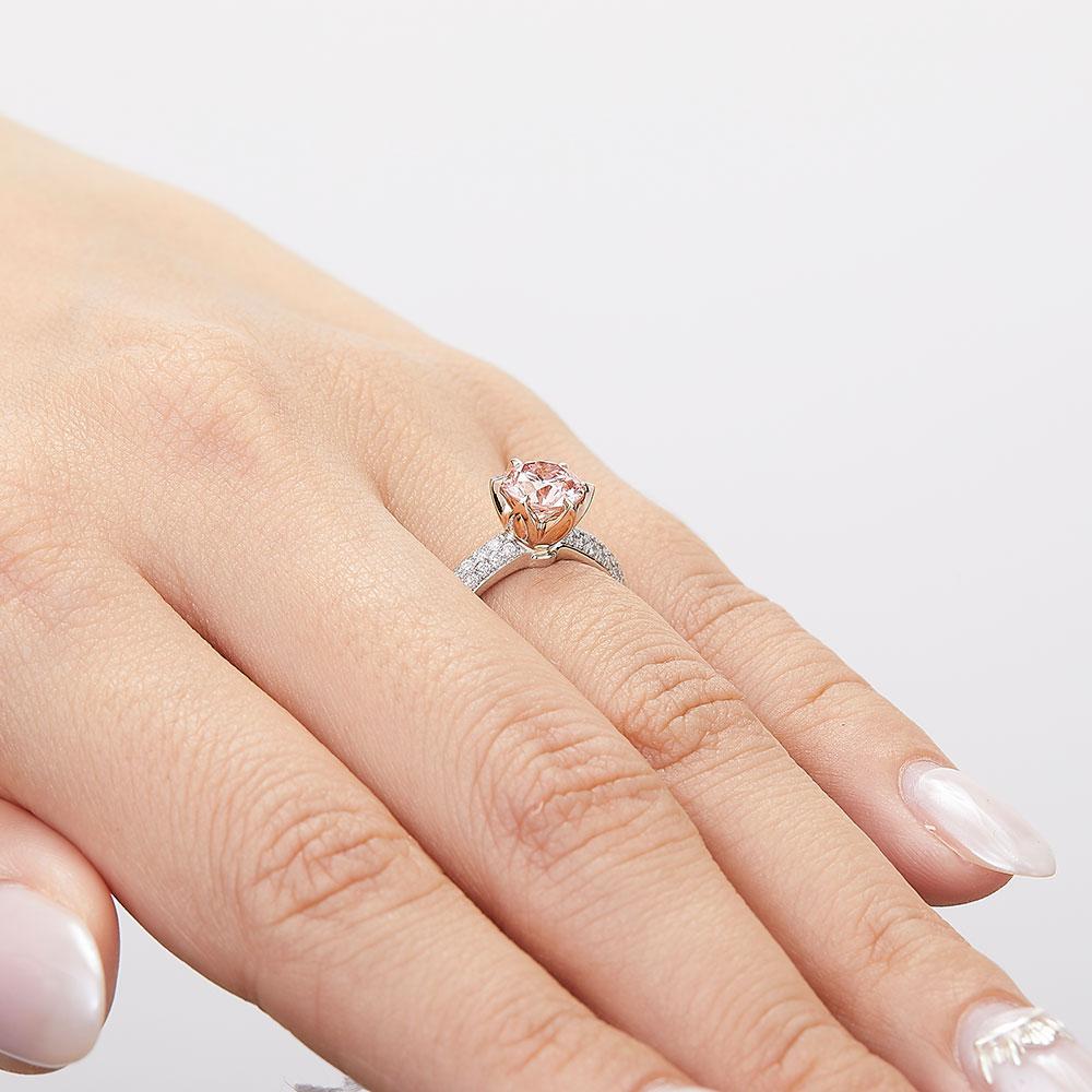ローズオブシャロン ピンク ラボグロウン ダイヤモンド 1.0ct リング Pt950 K18PG