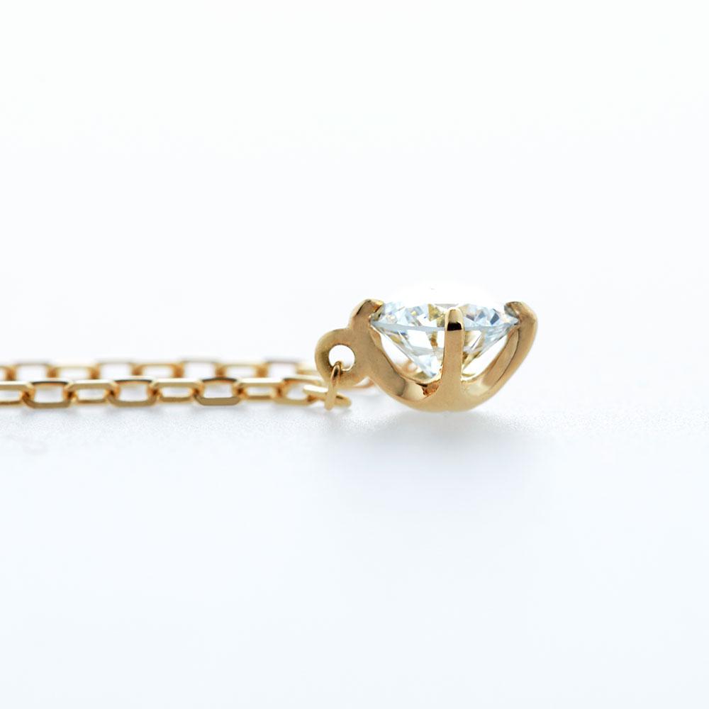 キュー ラボグロウン ダイヤモンド 中石 0.1ct ペンダント K18YG