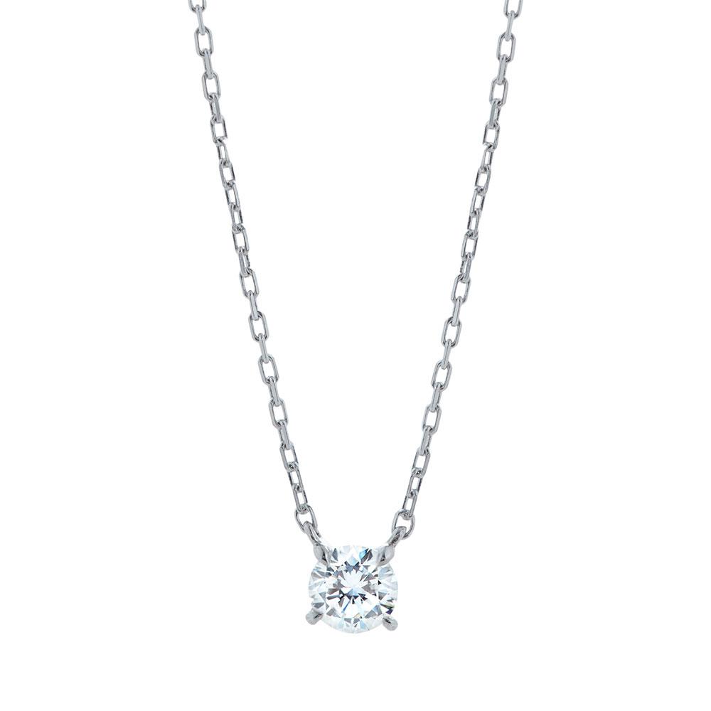 キュー 一粒 ラボグロウン ダイヤモンド 中石 0.2ct ペンダント シルバー