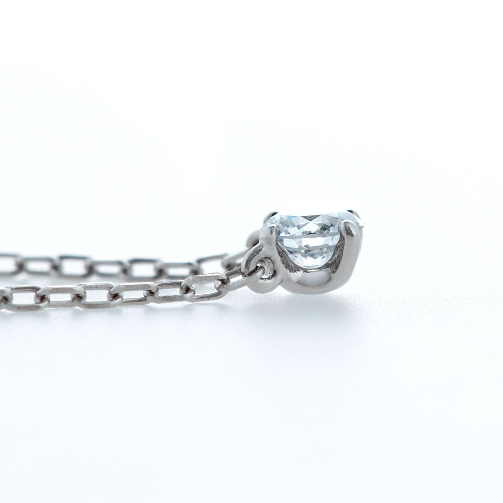 キュー ラボグロウン ダイヤモンド 中石 0.2ct ペンダント シルバー