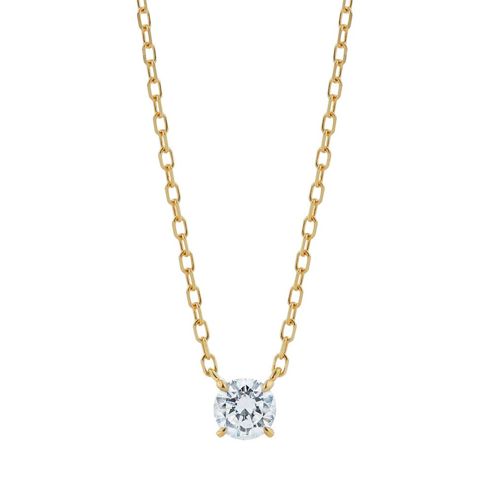 キュー ラボグロウン ダイヤモンド 中石 0.2ct ペンダント K18YG