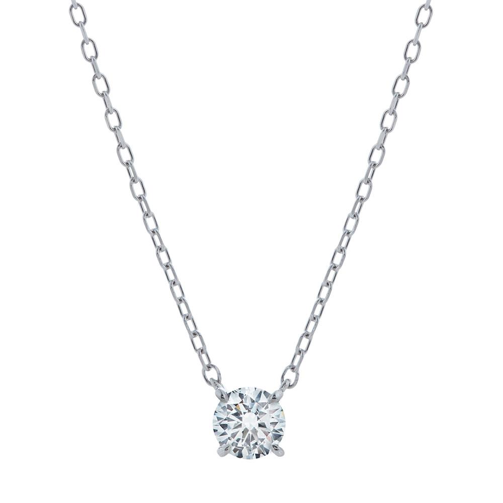 キュー ラボグロウン ダイヤモンド 中石 0.3ct ペンダント プラチナ