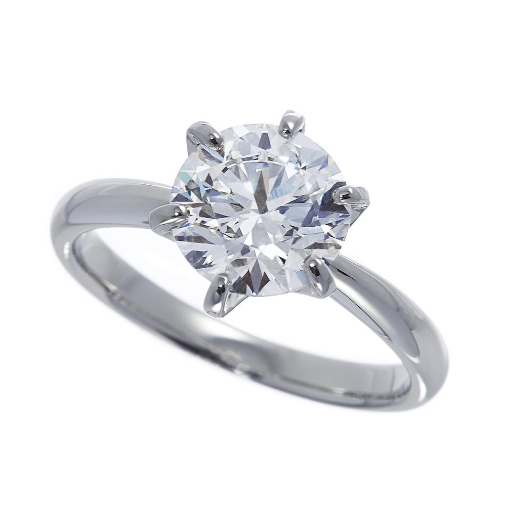 ビーリュクス ラボグロウン ダイヤモンド 中石 2.0ct 6本爪 リング プラチナ