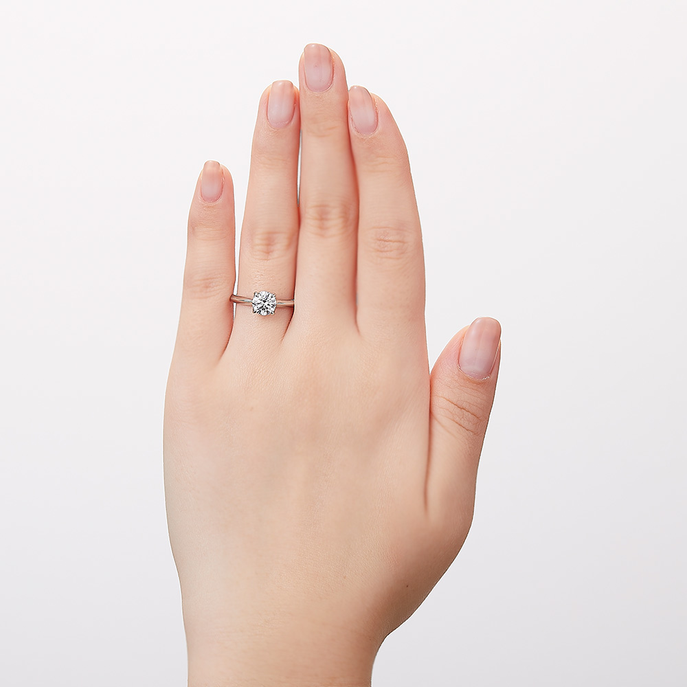 Bright ラボグロウン ダイヤモンド 中石 1.0ct 4本爪 リング プラチナ