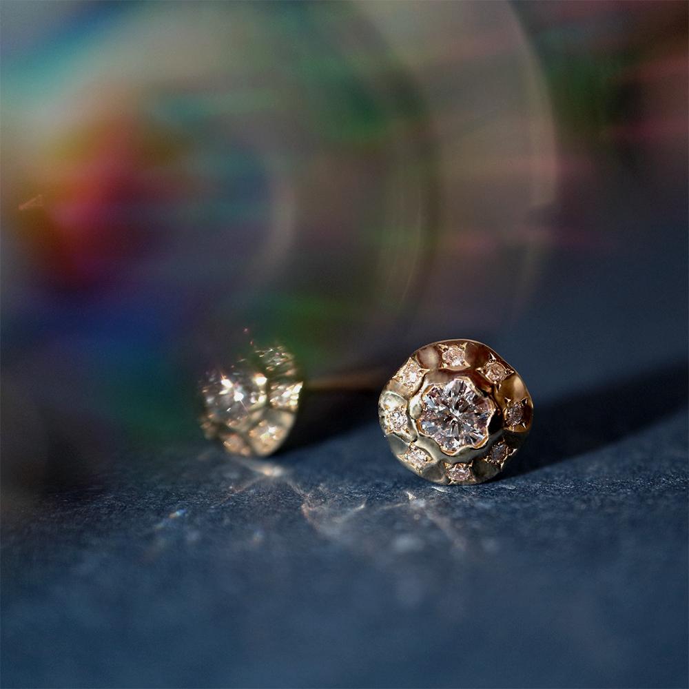 ステラ ラボグロウンダイヤモンド 1粒 ピアス K18YG