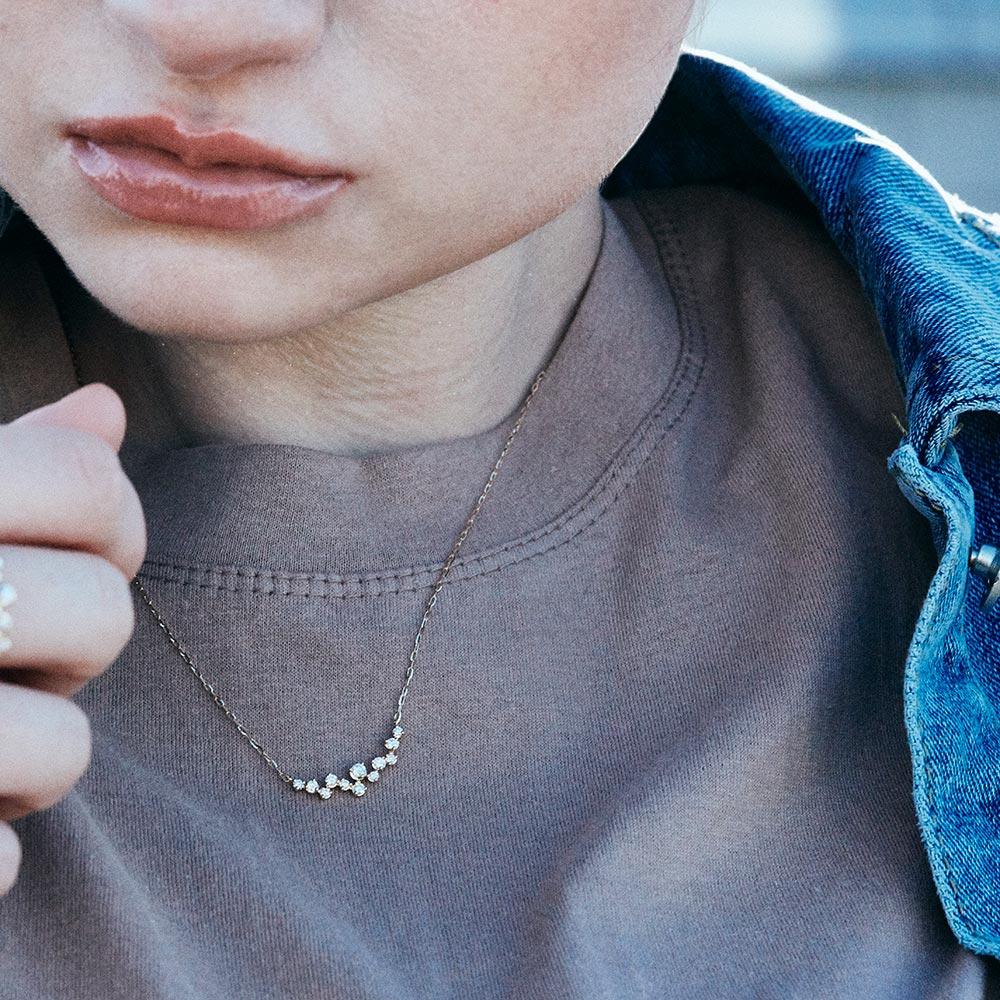 ラボグロウンダイヤモンド ランダム ライン ネックレス K18YG