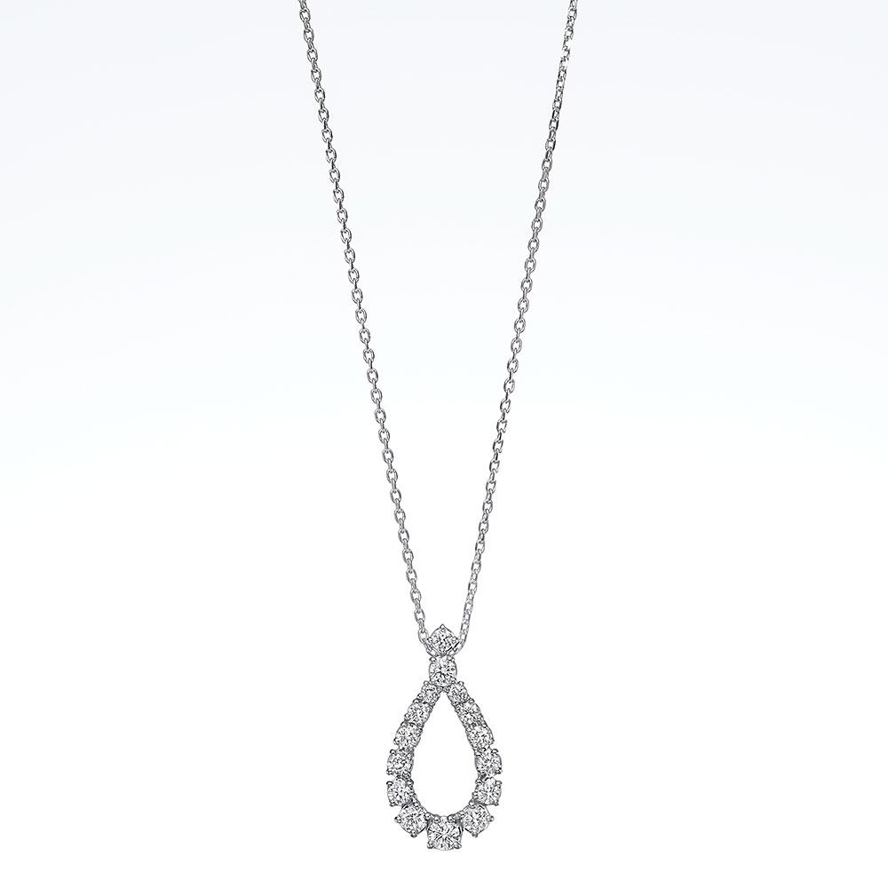 ラボグロウンダイヤモンド ティアドロップ ネックレス K18WG