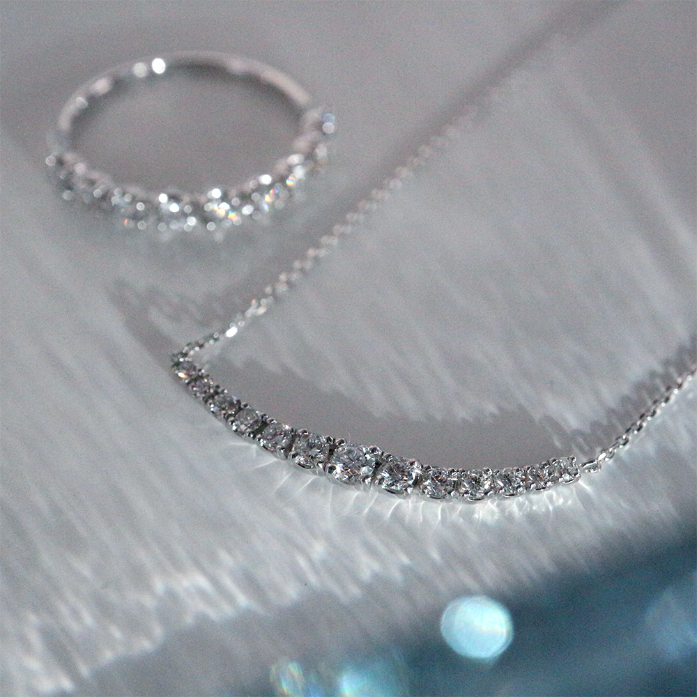 ラボグロウンダイヤモンド ライン ネックレス K18WG