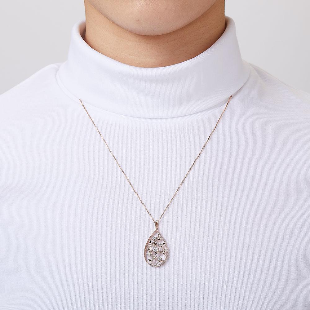 ローズオブシャロン ラボグロウン ダイヤモンド ペンダント K18WG
