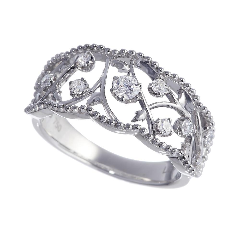 ローズオブシャロン ラボグロウン ダイヤモンド リング K18WG