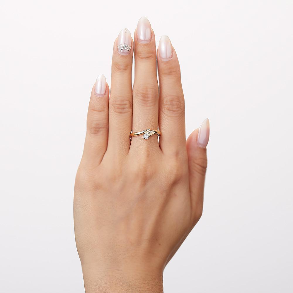 トラジェクトリー ラボグロウン ダイヤモンド 中石 0.15ct リング K18YG