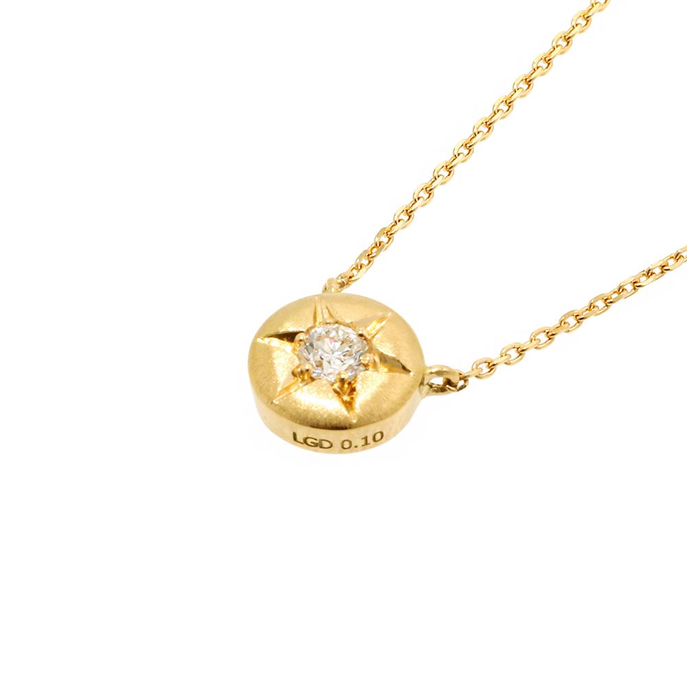 ブライト ラボグロウン ダイヤモンド 中石 0.1ct ペンダント K18YG