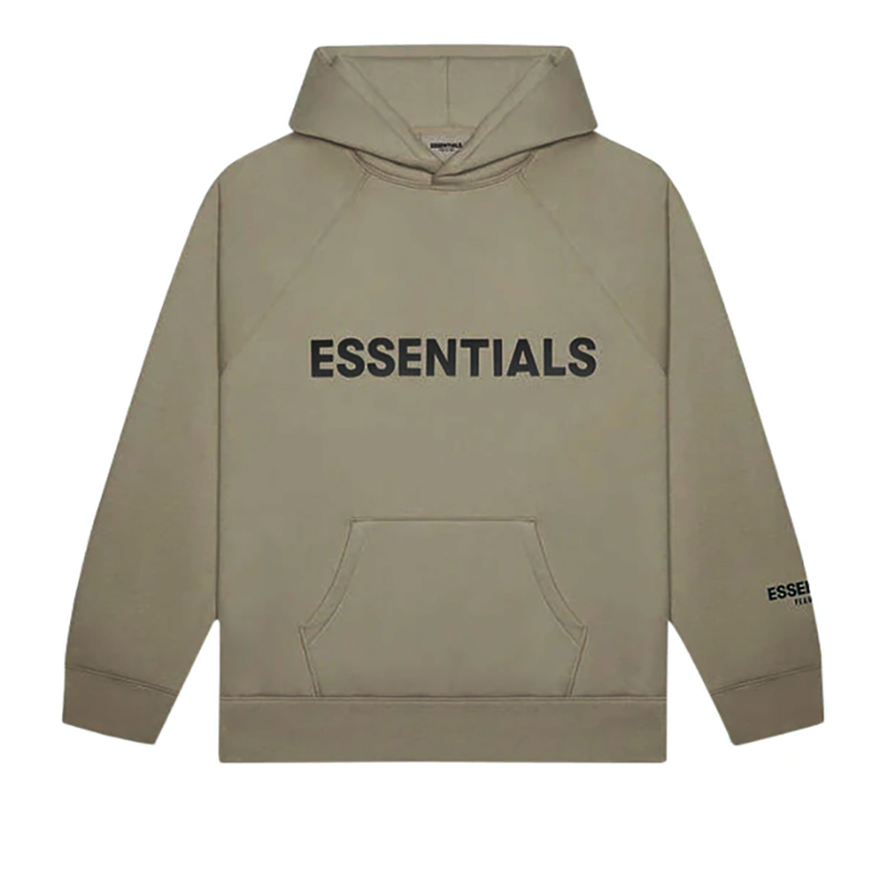 FEAR OF GOD ESSENTIALS  PULLOVER LOGO HOODIE OLIVE/KHAKI