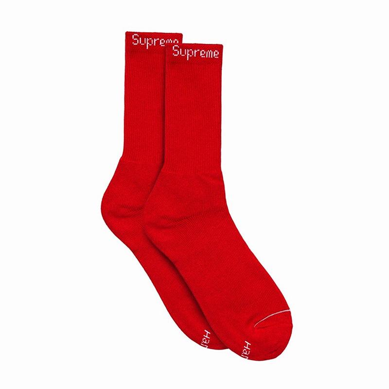 SUPREME HANES SOCKS RED