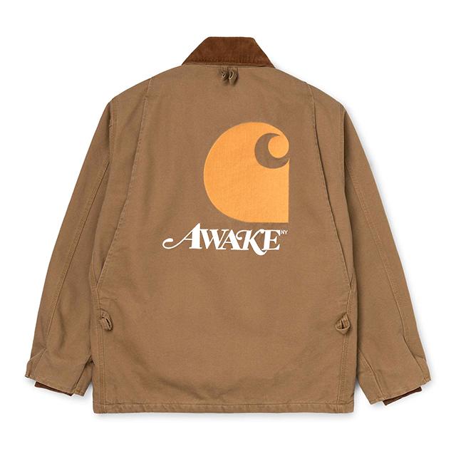 AWAKE × CARHARTT WIP MICHIGAN CHORE COAT BROWN/BLUE