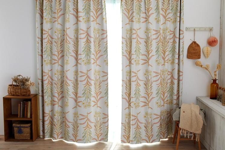 2級遮光カーテン スミノエ デザインライフ 「GLASSE グラッセ イエロー」 幅〜200cm×丈〜260cm