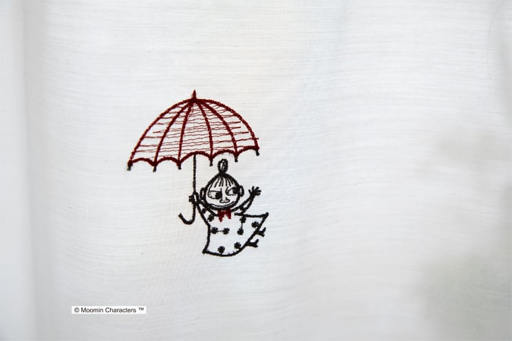 ボイルレースカーテン ムーミン 「UMBRELLA アンブレラ ホワイト」 幅〜100cm×丈〜260cm