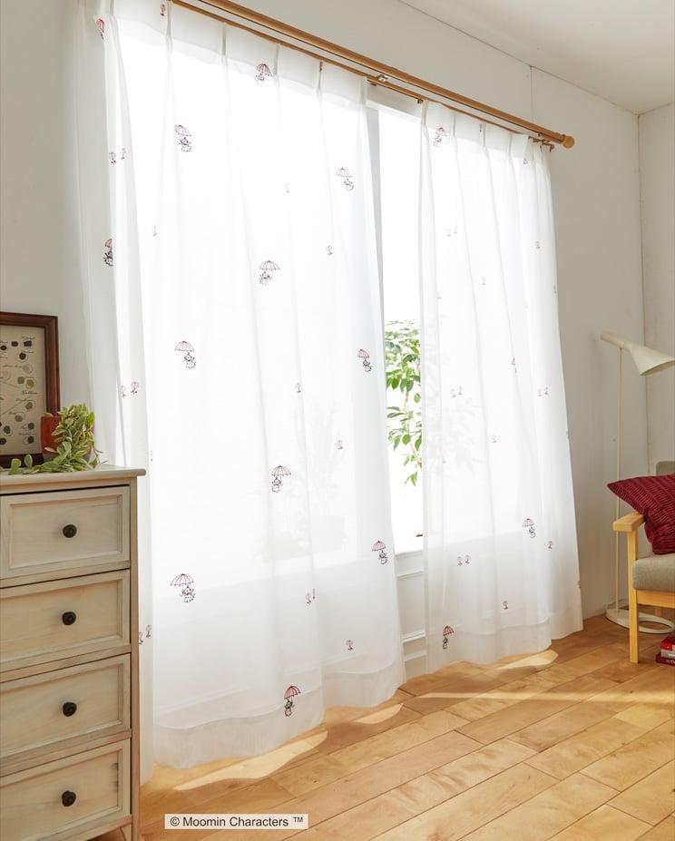 ボイルレースカーテン ムーミン 「UMBRELLA アンブレラ ホワイト」 幅〜200cm×丈〜260cm
