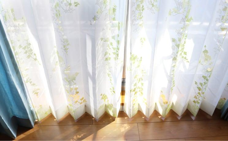 【最短6営業日で出荷】オパールレースカーテン「Ivy アイヴィー イエローグリーン」  幅〜200cm×丈〜140cm