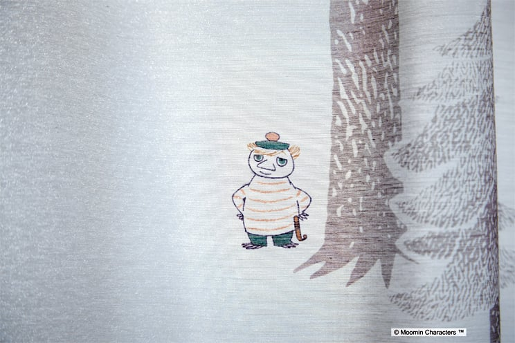 ボイルレースカーテン ムーミン 「PUUT プート グレー」 幅〜200cm×丈〜260cm