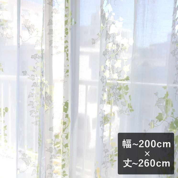 【最短6営業日で出荷】オパールレースカーテン「Ivy アイヴィー イエローグリーン」  幅〜200cm×丈〜260cm