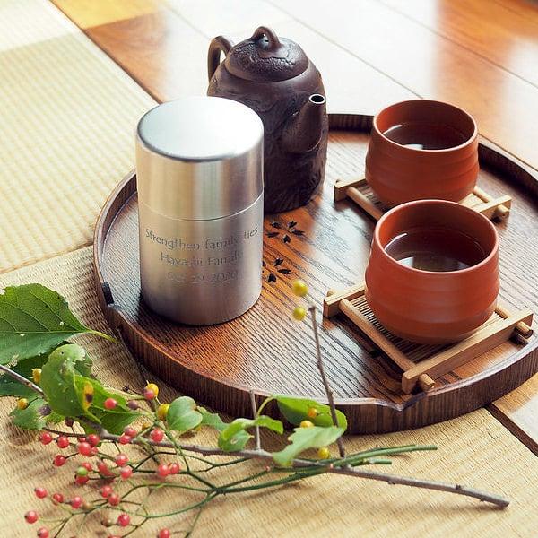 名入れ ステンレス茶筒 茶葉 容器