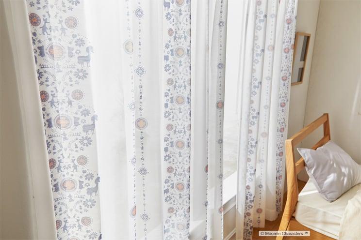 ボイルレースカーテン ムーミン 「FOLK LINE フォークライン ブルー」 幅〜200cm×丈〜260cm