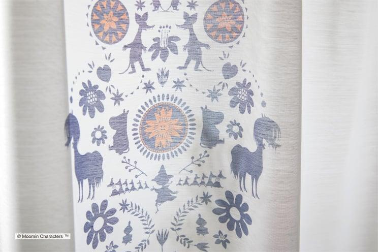 ボイルレースカーテン ムーミン 「FOLK LINE フォークライン ブルー」 生地サンプル ※1種類につき1枚まで、計5枚まで