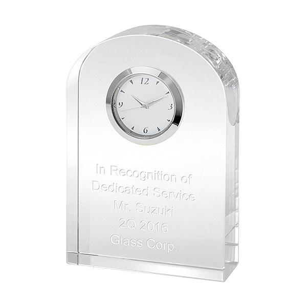 名入れ クリアブリッジ クロック 置き時計 透明 ガラス