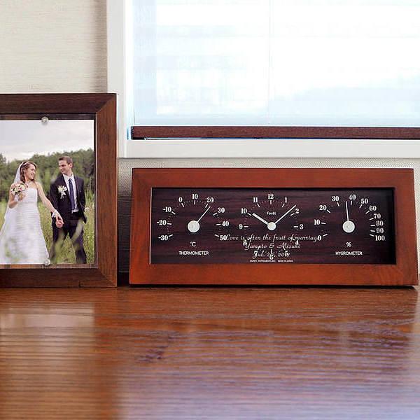 名入れ テーブル&ウォールクロック (温湿度計付) 温度計 湿度計 置掛両用