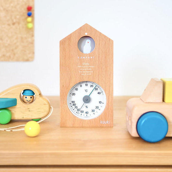 名入れ ハト温湿度計 ナチュラル 温度計 湿度計